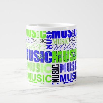 music text green blue white graphic jumbo mugs