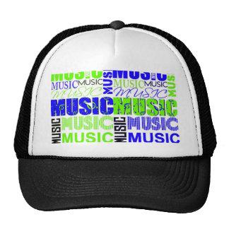 music text green blue white graphic trucker hat
