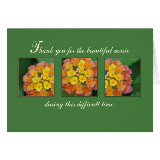 Music Thank You for Beautiful Funeral Service Greeting Card