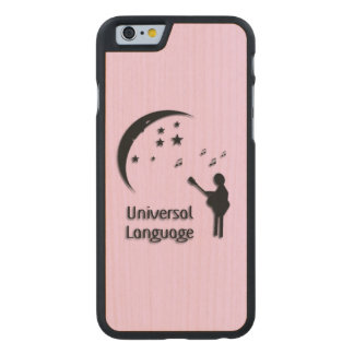 Music the Universal Language Pink Carved Maple iPhone 6 Slim Case