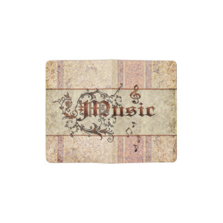 Music the word pocket moleskine notebook cover with notebook