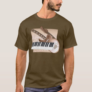 Music Theme Design T-shirt keyboard guitar