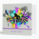 Music Theme DJ Spinning Records Abstract Design Binders