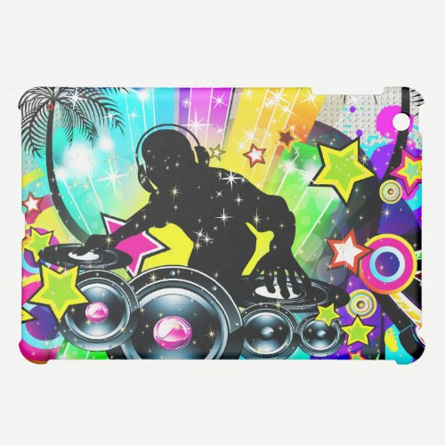 Music Theme DJ Spinning Records Abstract Design iPad Mini Case