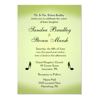 "Music Theme Green Wedding 5"" X 7"" Invitation Card"