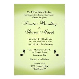 "Music Theme Green Wedding 5"" X 7"" Invitation Card"