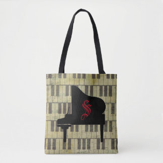 Music Theme Piano Book Tote Bag Music Note