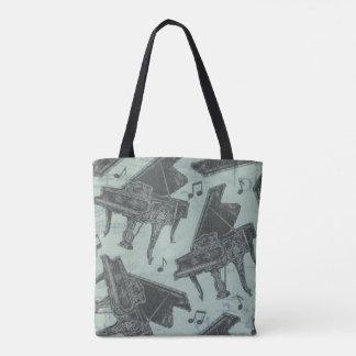 Music Theme Tote Bag Music note piano book bag