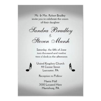 "Music Theme Wedding 5"" X 7"" Invitation Card"