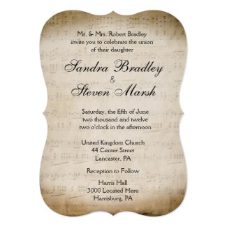 "Music Theme Wedding 5"" X 7"" Invitation Card"