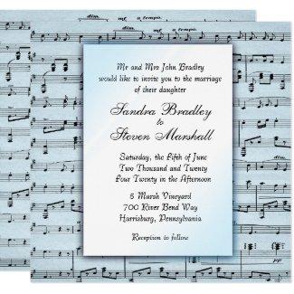 Music Theme Wedding Blue Sheet Music Invitation