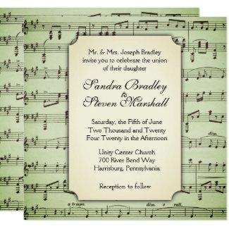 Music Theme Wedding Invitation Green