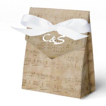Music Theme White Monogram Favor Boxes