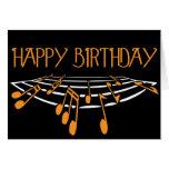Music Themed Birthday Card - Orange