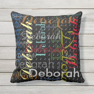 music-themed pattern name personalized throw pillow