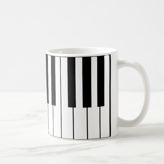 music-themed piano keys coffee mug