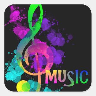 Music Themed Rainbow Treble Clef Square Sticker