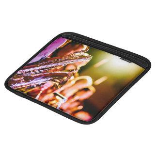 Music Themed, Shiny Brass Saxophone Player With Ba iPad Sleeve