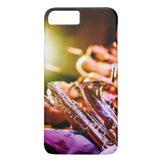 Music Themed, Shiny Brass Saxophone Player With Ba iPhone 7 Plus Case