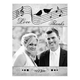 Music Themed Wedding Photo Thank You Postcard