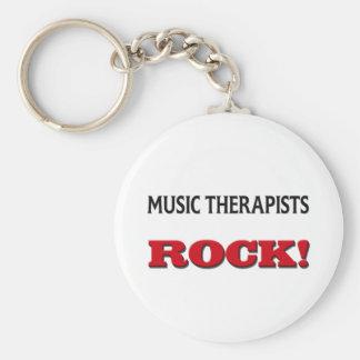 Music Therapists Rock Basic Round Button Keychain
