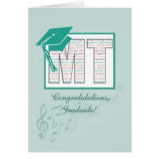Music Therapy Graduation Congratulations, MT Hat Greeting Cards