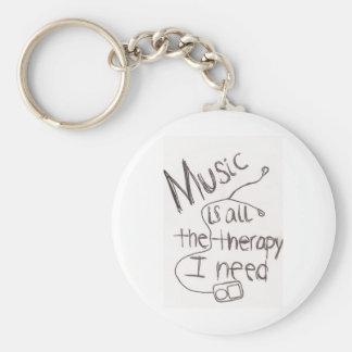 music therapy white basic round button keychain