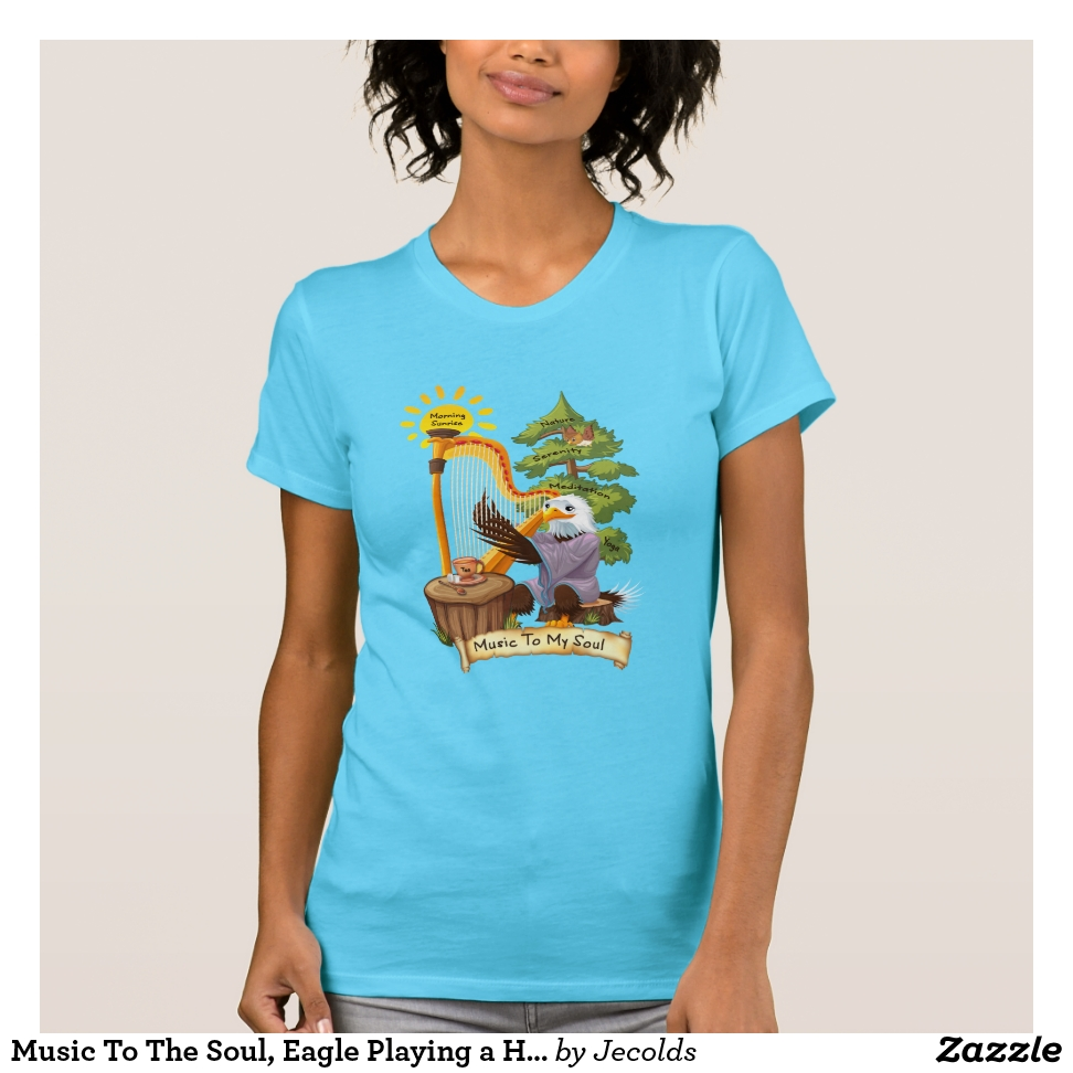 Music To The Soul, Eagle Playing a Harp, Women's T-Shirt - Best Selling Long-Sleeve Street Fashion Shirt Designs