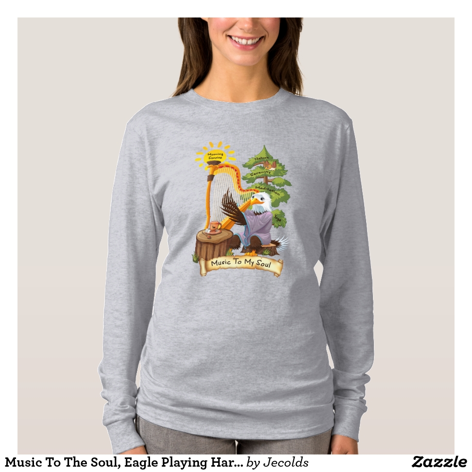Music To The Soul, Eagle Playing Harp, Women's T-Shirt - Best Selling Long-Sleeve Street Fashion Shirt Designs