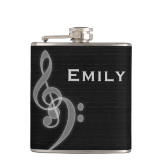 Music - Treble and Bass Clef - Liquor Flask