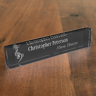 Music - Treble and Bass Clef Name Plate