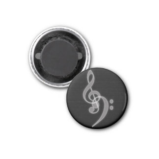 Music - Treble and Bass Clef - Round Magnet Refrigerator Magnet