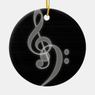 Music - Treble and Bass Clef - Round Ornament