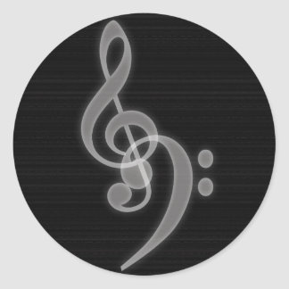 Music - Treble and Bass Clef - Round Sticker