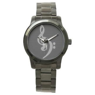 Music - Treble and Bass Clef Wrist Watch
