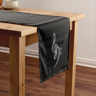 Music - Treble and Bass Clefs at the side Short Table Runner