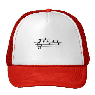 Music - Treble Clef - birds as notes Hats