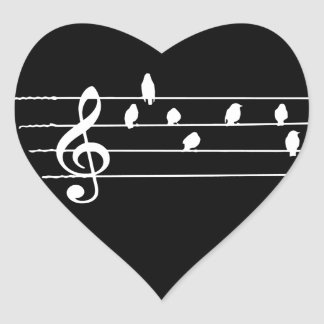 Music - Treble Clef - birds as notes Heart Sticker