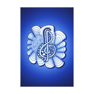 Music Treble Clef Blue Canvas Print