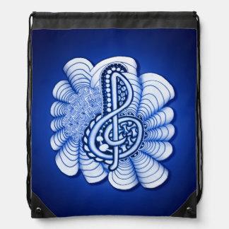 Music Treble Clef Blue Drawstring Backpack