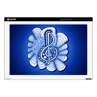 "Music Treble Clef Decorative Art 17"" Laptop Decal"