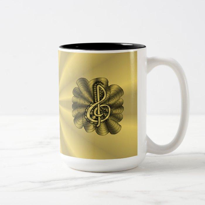 Treble Maker Coffee Mug : Music Treble Clef Gold Customized Two-Tone Coffee Mug Zazzle