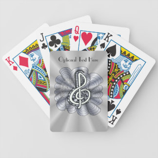 Music Treble Clef Silver Bicycle Playing Cards