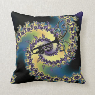Music Trumpet and Notes Fractal Swirl Pillow