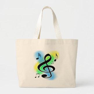 Music Tunes Large Tote Bag