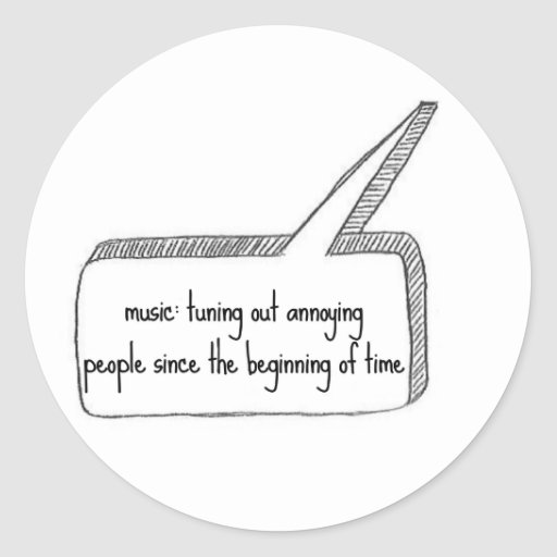 Music Tuning People Out Round Stickers