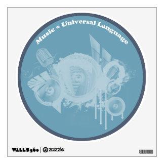 Music Universal Language Blue Wall Sticker