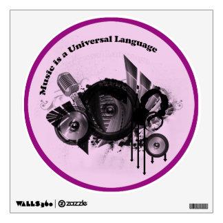 Music Universal Language Pink Black Wall Graphics