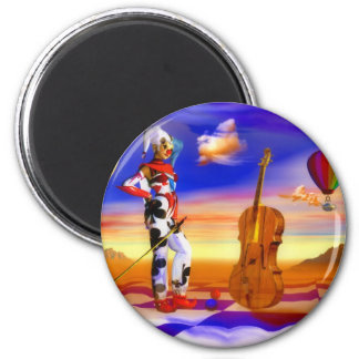 Music violins surreal note art by Lenny Refrigerator Magnets
