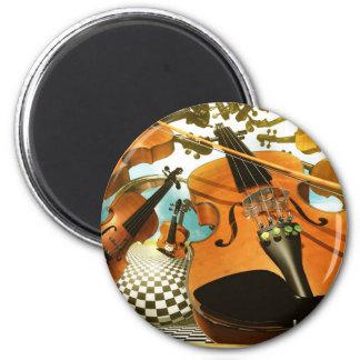 Music violins surreal note art by Lenny Fridge Magnet